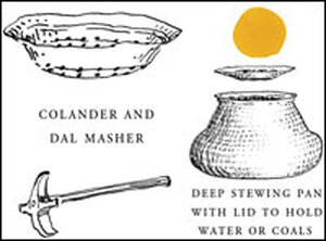 Colander and dal masher, traditional tools used to make dal.