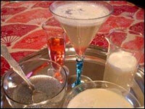 Niloufer Ichaporia King's falooda, featuring basil seeds, rosewater, milk and vanilla ice cream.