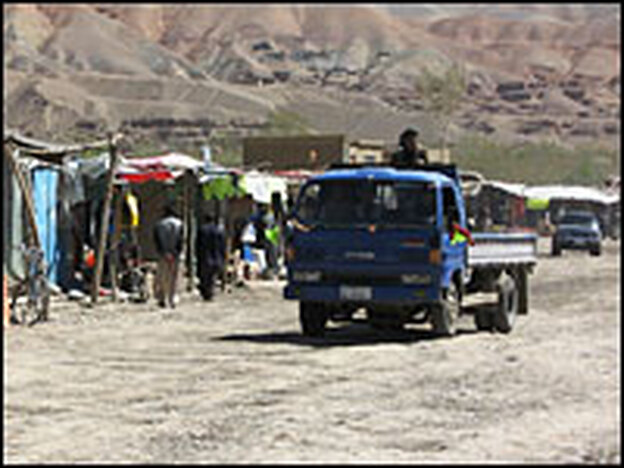 "Most of the roads in Bamiyan province resemble this bumpy ""rock carpet"" road — which is the main thoroughfare in Bamiyan city."