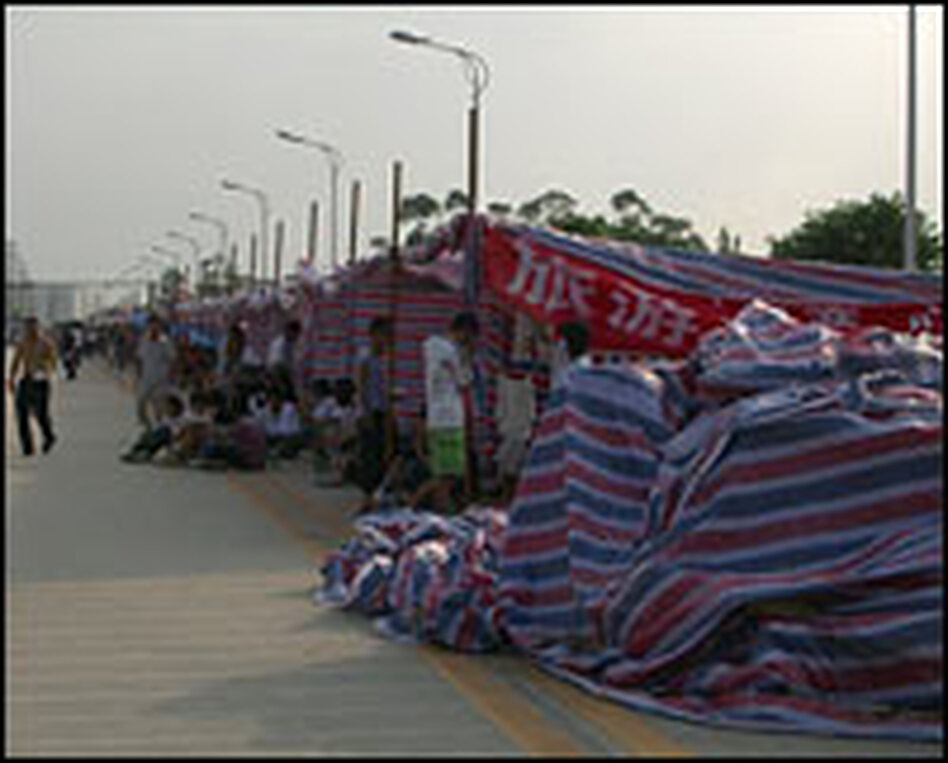 About 424,000 of the 430,000 residents of Shifang and the surrounding area are now sleeping on the streets. Most are in emergency tents erected by the government.