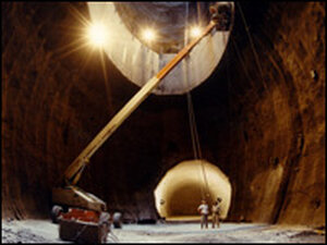 An access tunnel under construction for the Superconducting Super Collider.