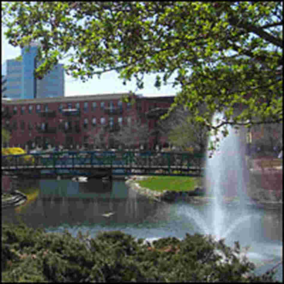Fountain and greenery in Kalamazoo
