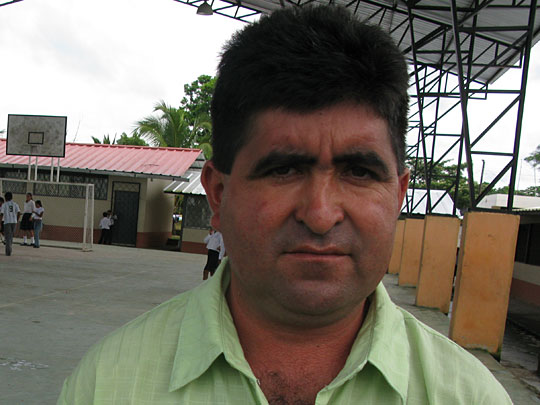 Wilmo Moreta says he is suffering health problems because of the polluted Napo river
