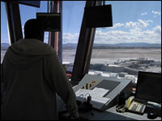 Ramp controller Charles Blackstone at McCarran  International Airport in Las Vegas now has more views of empty gates as a result of the decline in flights.