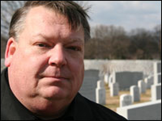 John West was at Arlington National Cemetery to mark the first anniversary of his son's death in Iraq.