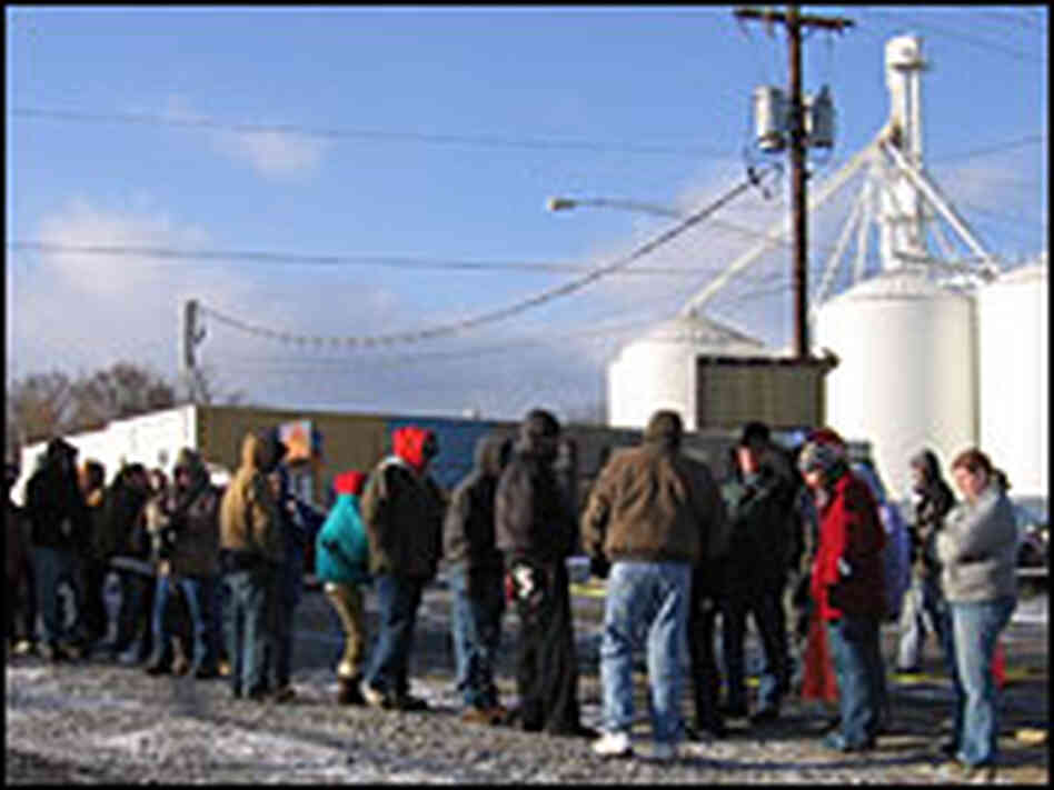 People waiting in line for food in Wilmington, Ohio