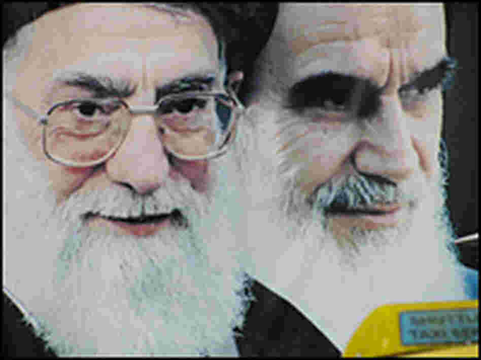 Billboards, poster and office portraits in Iran often feature Khamenei alongside the revolutionary l