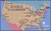 A map of designated high-speed rail corridors