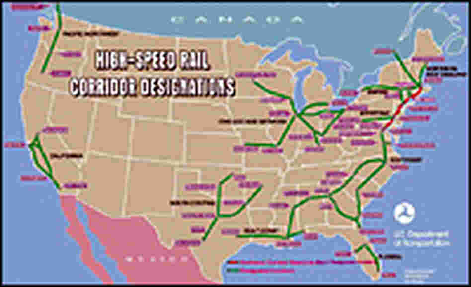A map of designated high-speed rail corridors