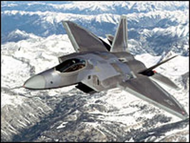 An F-22 Raptor flies in an undated image.  The first Raptor joined the 27th Fighter Squadron Oct. 27, 2004.