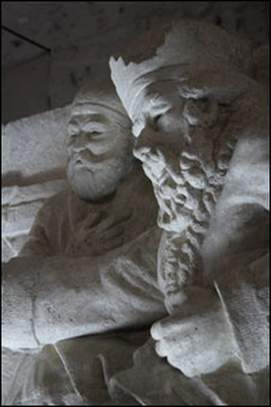 Sculptures depicting some of Ferdowsi's characters line the walls of this room.