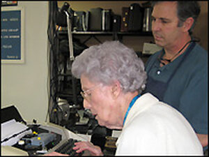 Esther Johnson, 103, brought her electric typewriter in for repair at John Sansone's shop.
