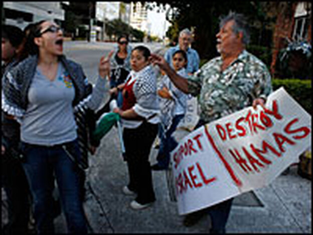 Tensions over the Gaza conflict have boiled over at recent rallies in South Florida. Palestinian supporter Nancy Ali-Shama exchanged words with Israeli supporter Bob Kunst last month during a protest in Fort Lauderdale.
