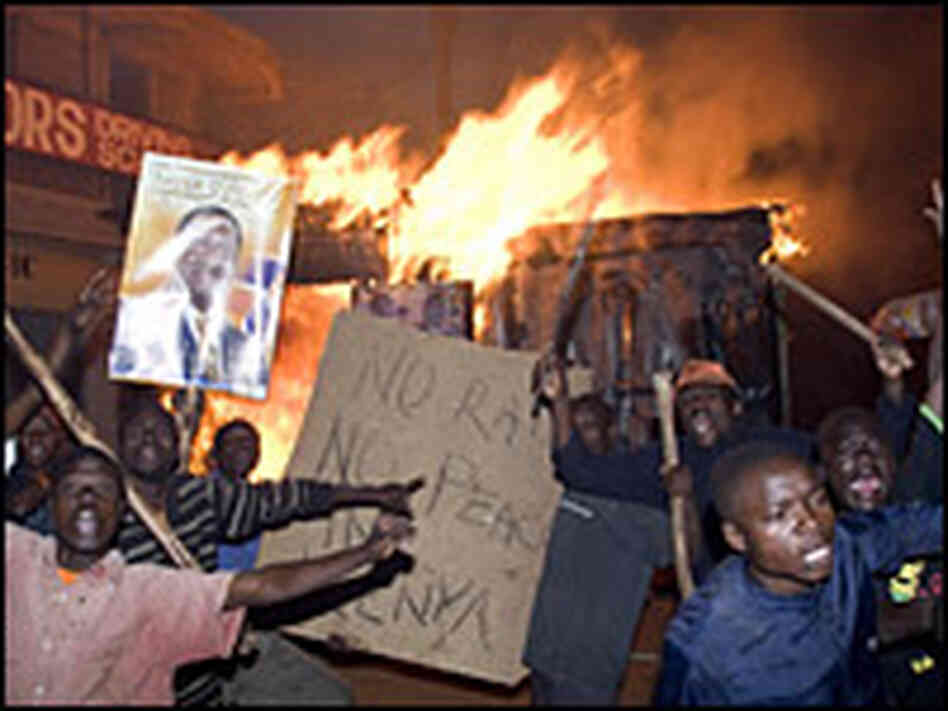 Residents of Nairobi's Kibera slum protest results of the country's Dec. 30, 2007 elections.