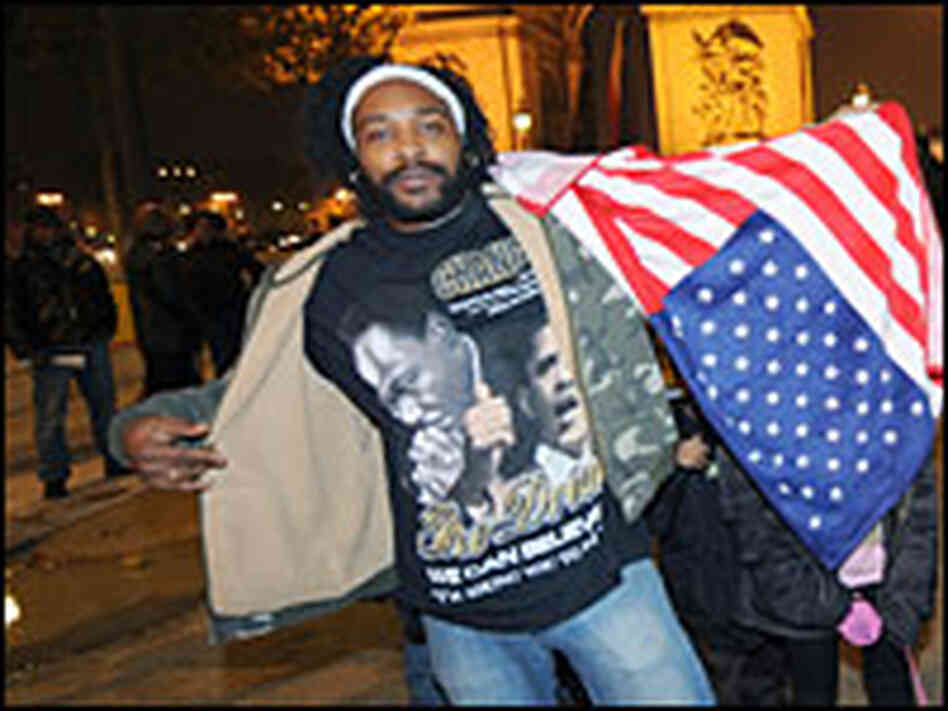 A supporter of Barack Obama celebrates his victory in Paris.