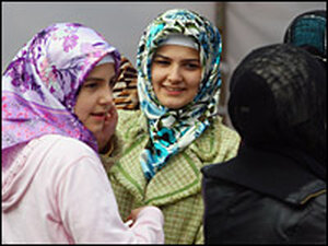 Young Muslim women after attending afternoon prayers at  a predominantly Turkish mosque in Berlin.