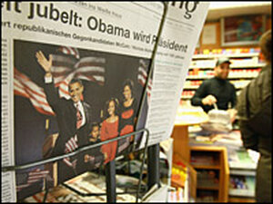 Newspapers at a Berlin store featured news of Barack Obama's victory.