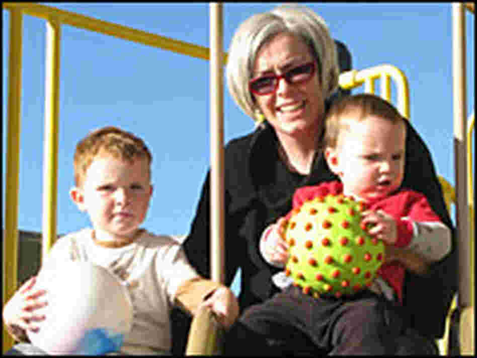 Natalie Carey and her two sons, Gabe and Max, play at a local park in Nevada.