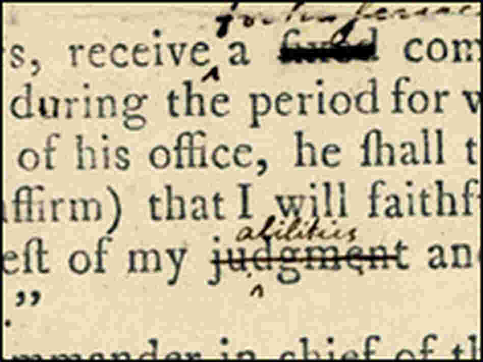 First printed copy of draft Constitution, Aug. 6, 1787, annotated by George Washington and others.