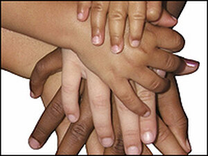 A picture of human hands of all skin colors.