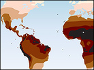 A map depicting average skin color by region.