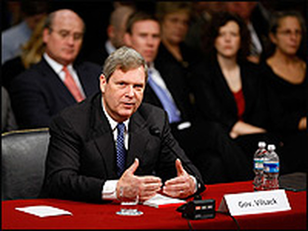 Former Iowa Gov. Tom Vilsack testifies Wednesday during his confirmation hearing before the Senate Agriculture Committee on Capitol Hill.