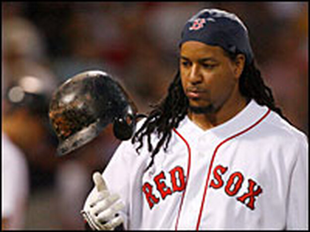 "Manny Ramirez makes an out during his final at-bat as a member of the Red Sox on July 30, 2008.  A former Boston teammate described Ramirez as a ""cancer"" on the team."