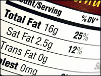 The nutrition label of a high fat food.