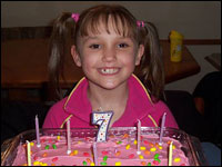 Angellika Arndt smiles at her 7th birthday party.