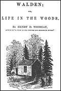 'Walden' title page, illustrated with Thoreau's cabin