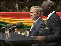 President George Bush and Ghanian President John Agyekum Kufuor at a joint press conference.