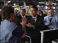 Sen. Barack Obama tours the General Motors assembly plant in Janesville, Wis.