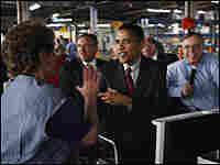 Sen. Barack Obama tours the General Motors assembly plant in Janesville, Wis.
