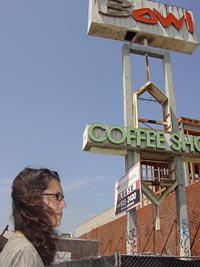 Author Nina Revoyr outside the now-defunct Holiday Bowl in L.A.'s Crenshaw District.