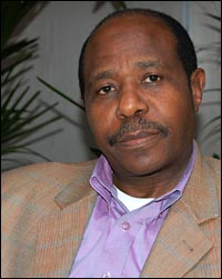 Paul Rusesabagina at the NPR West studios in Culver City, Calif.