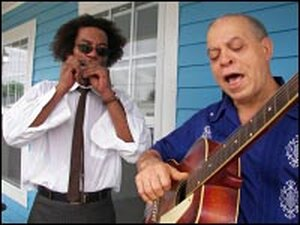 J.D. Hill, left and Deacon John play an improvised tune