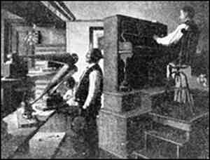 This untitled photograph is believed to be a picture of Johnson recording a song.
