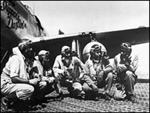 Pilots of a P-51 Mustang group of the 15th Air Force, stationed in Italy in 1944