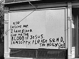 A sign found in Saint Louis, MI in 1984