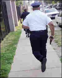 Police officer running to scene
