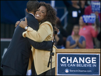 Sen. Barack Obama gets a hugs from television host Oprah Winfrey.