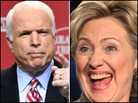 Sen. John McCain (left) and Sen. Hillary Clinton (right)