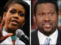 Michelle Obama, (left), and Tavis Smiley, (right)