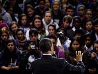 Obama Addressing Crowd