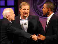 John McCain (R-AZ), pastor Rick Warren and Barack Obama (D-IL)