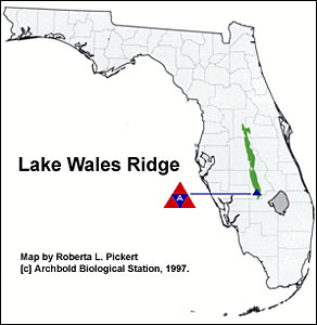 Map of the Lake Wales Ridge.