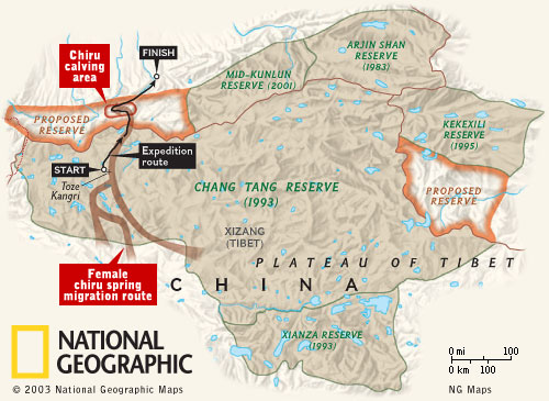 A map of Tibet's Chang Tang plateau