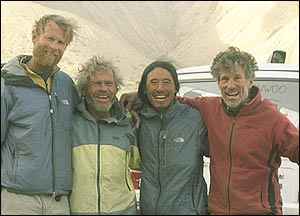The Chang Tang expedition team, from left: Conrad Anker, Rick Ridgeway, Jimmy Chin and Galen Rowell.