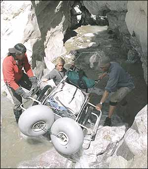 Expedition members used aluminum rickshas to carry hundreds of pounds of gear during their 30-day trek.