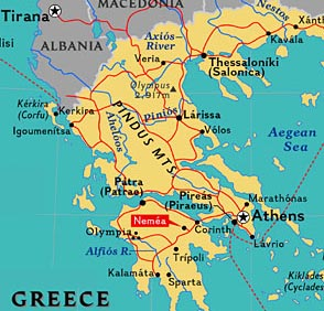 Map of Greece showing the location of Nemea.
